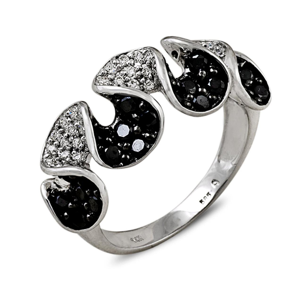 Золотое кольцо с бриллиантами, размер 16 (002508)