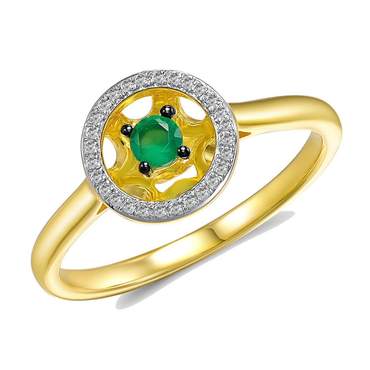Золотое кольцо с бриллиантами и изумрудом, размер 15.5 (210766)