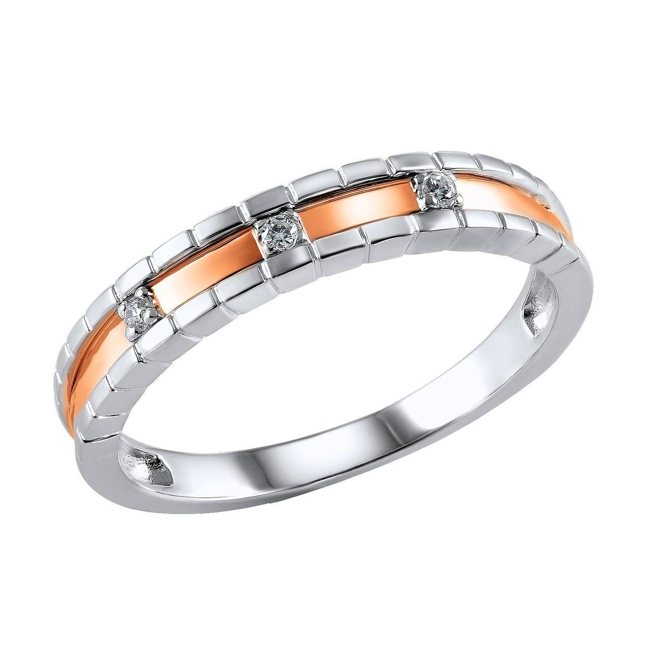 Золотое кольцо с бриллиантами, размер 16 (814972)