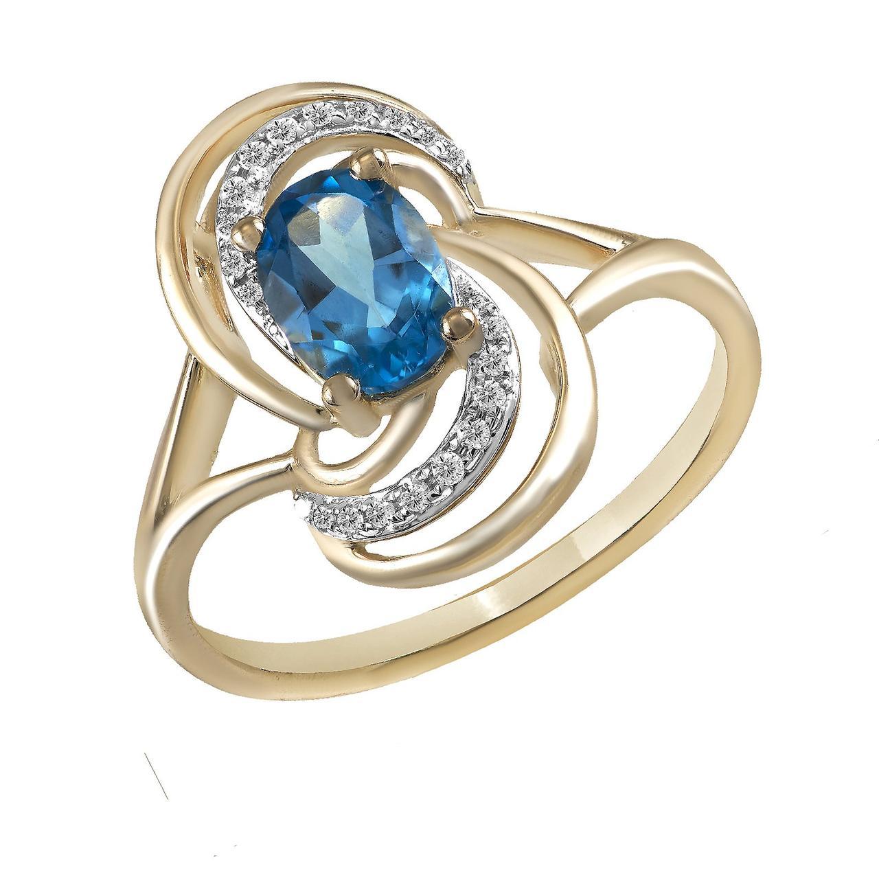 Золотое кольцо с бриллиантами и топазом, размер 16.5 (825123)