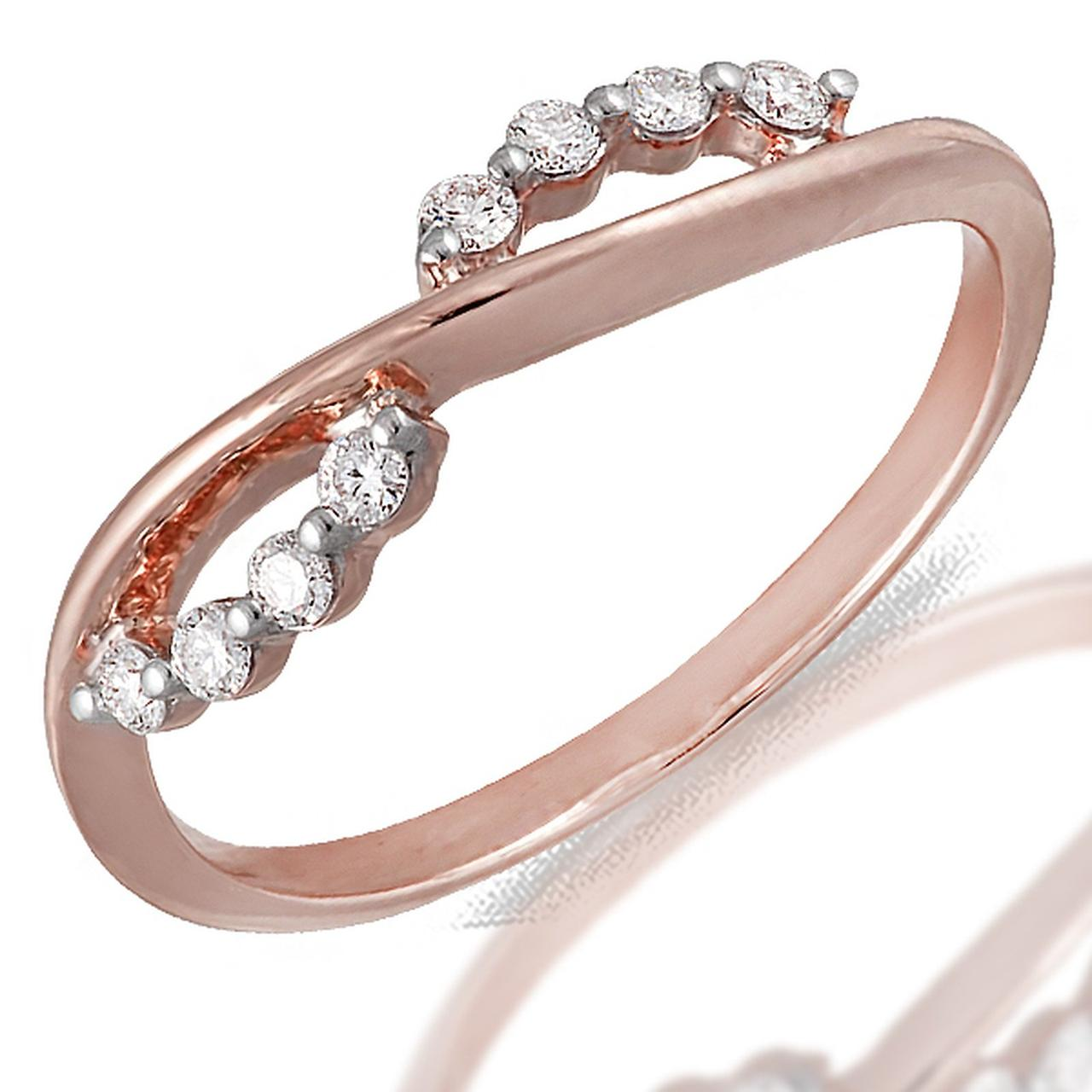 Золотое кольцо с бриллиантами, размер 16.5 (056937)