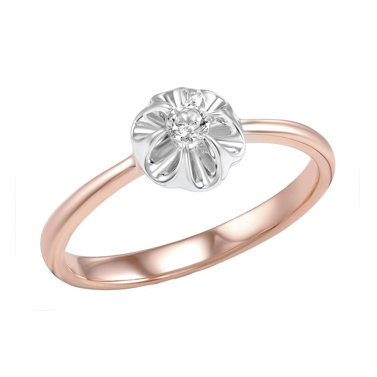 Золотое кольцо с бриллиантом, размер 17 (474830)