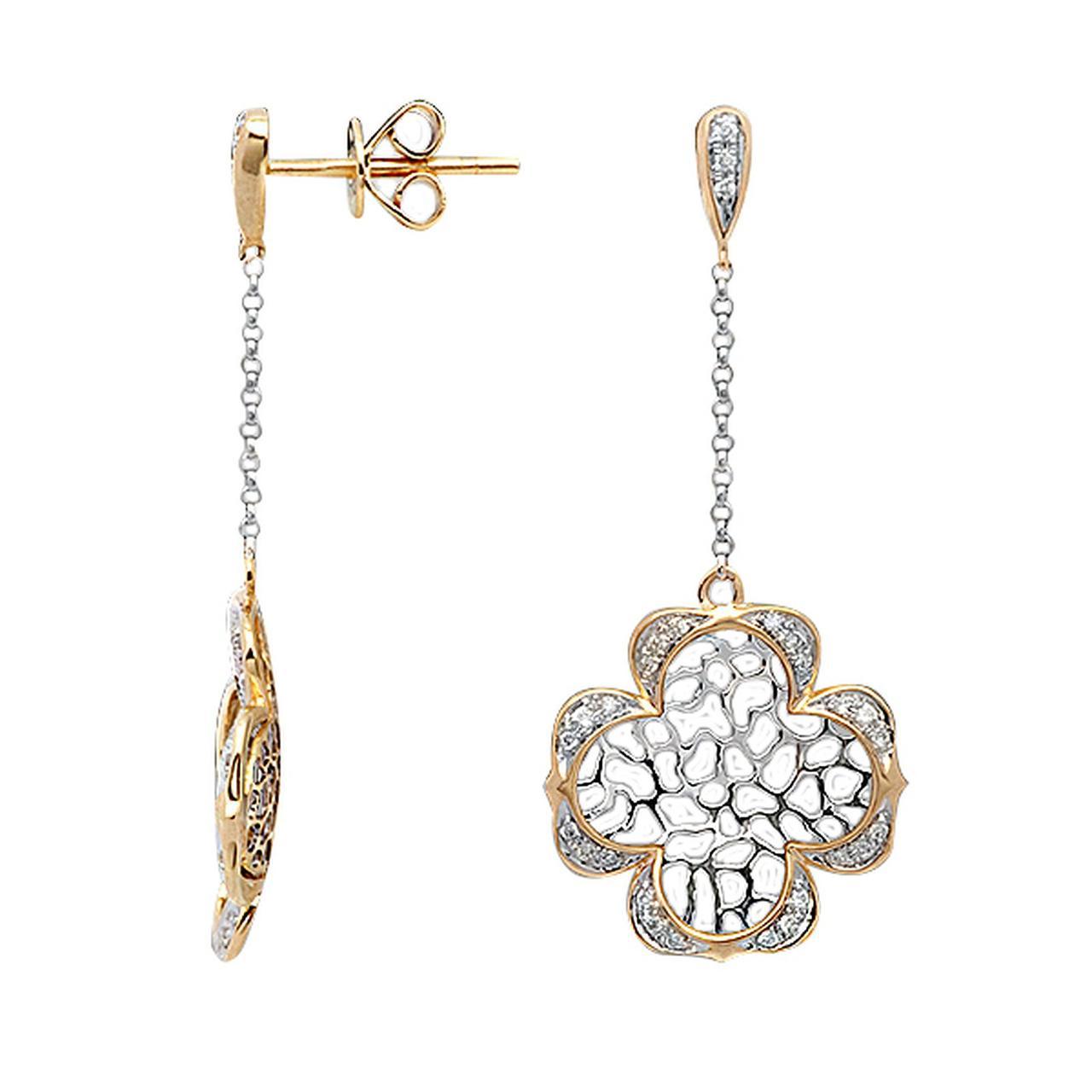 Серьги из желтого золота с бриллиантами и эмалью (044199)