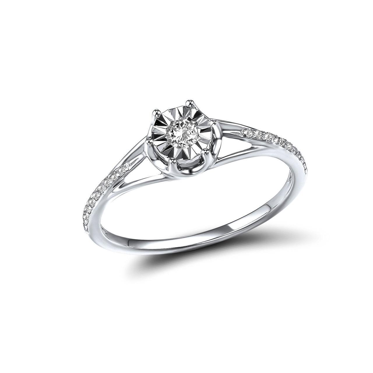 Золотое кольцо с бриллиантами и топазом, размер 15.5 (1549608)