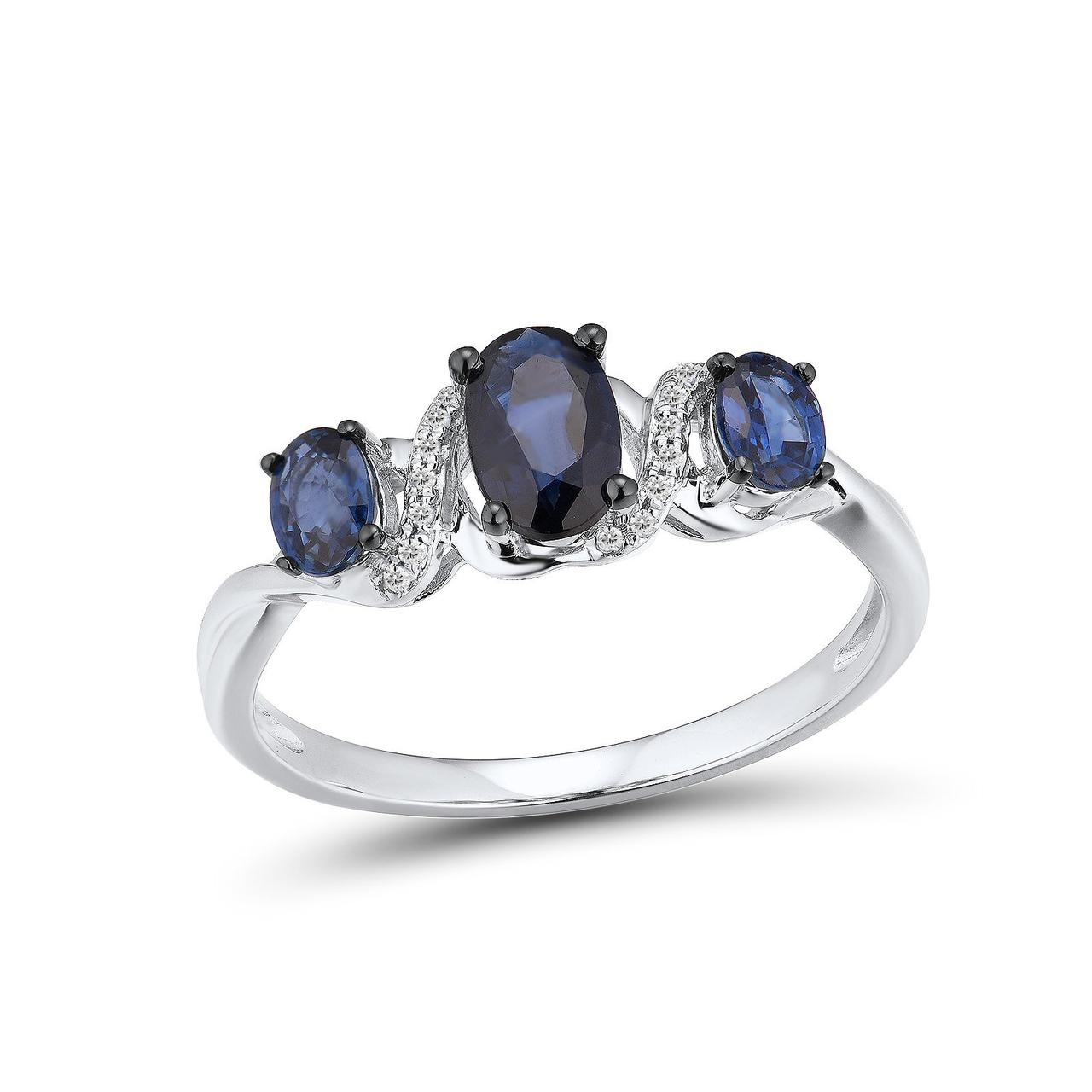 Золотое кольцо с бриллиантами и сапфирами, размер 17 (1681416)