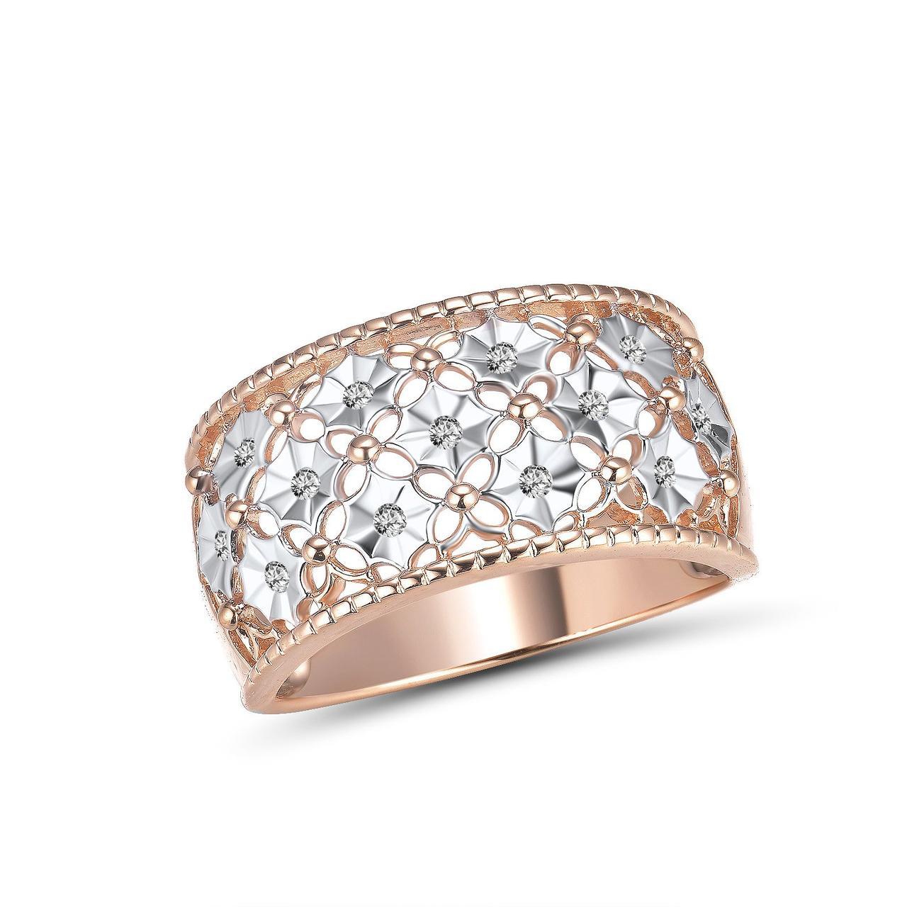 Золотое кольцо с бриллиантами, размер 18 (1692427)