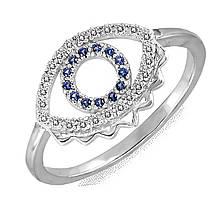 Серебряное кольцо с куб. циркониями, размер 16.5 (191279)