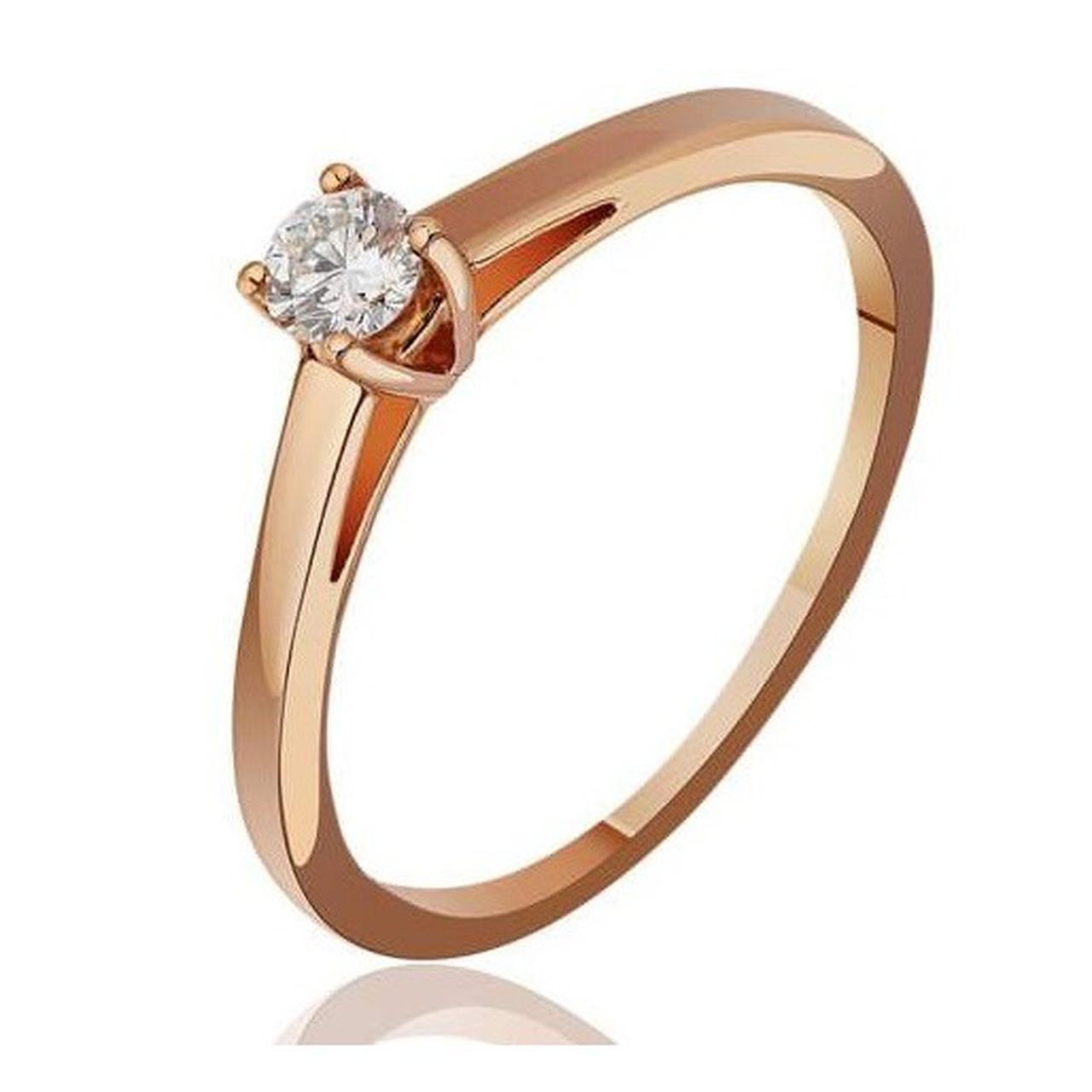 Золотое кольцо с Swarovski Zirconia, размер 15 (1704298)