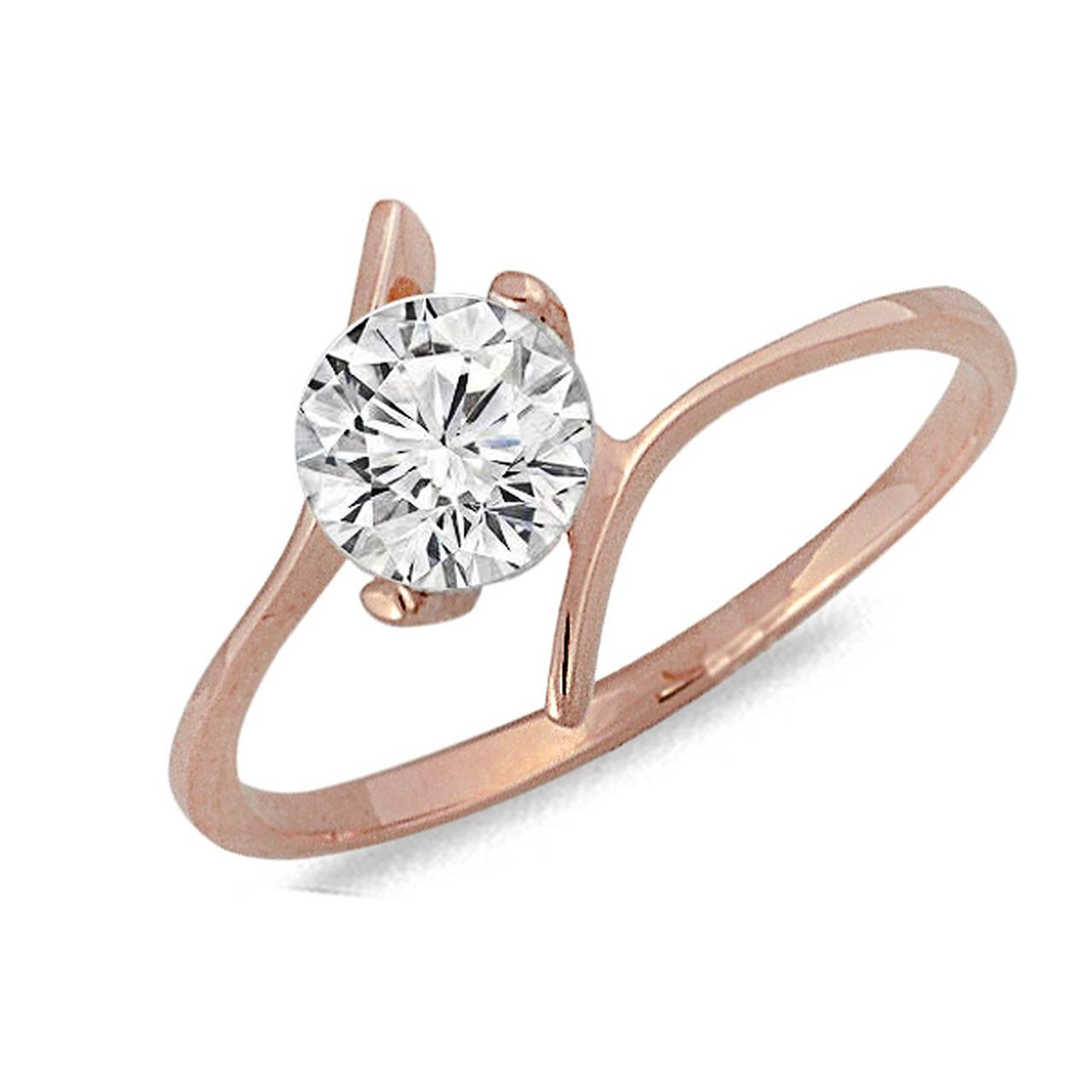 Золотое кольцо с куб. цирконием, размер 16.5 (040470)