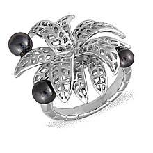 Серебряное кольцо с жемчугом (искусст.), размер 16 (077575)