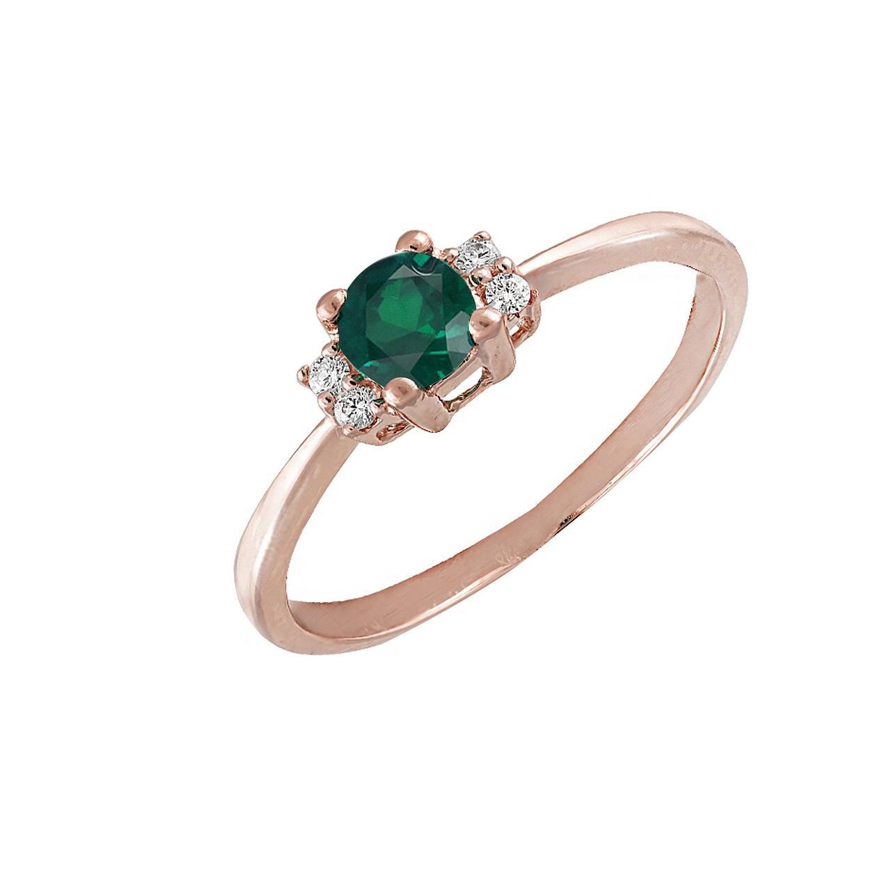 Золотое кольцо с бриллиантами и изумрудом, размер 17 (057606)