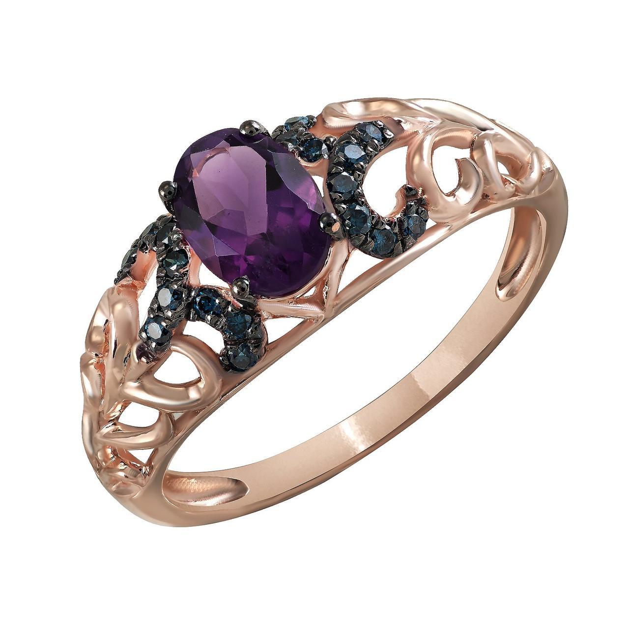 Золотое кольцо с аметистом и бриллиантами, размер 16.5 (817302)