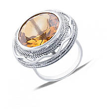 Серебряное кольцо с кварцем, размер 16.5 (143354)