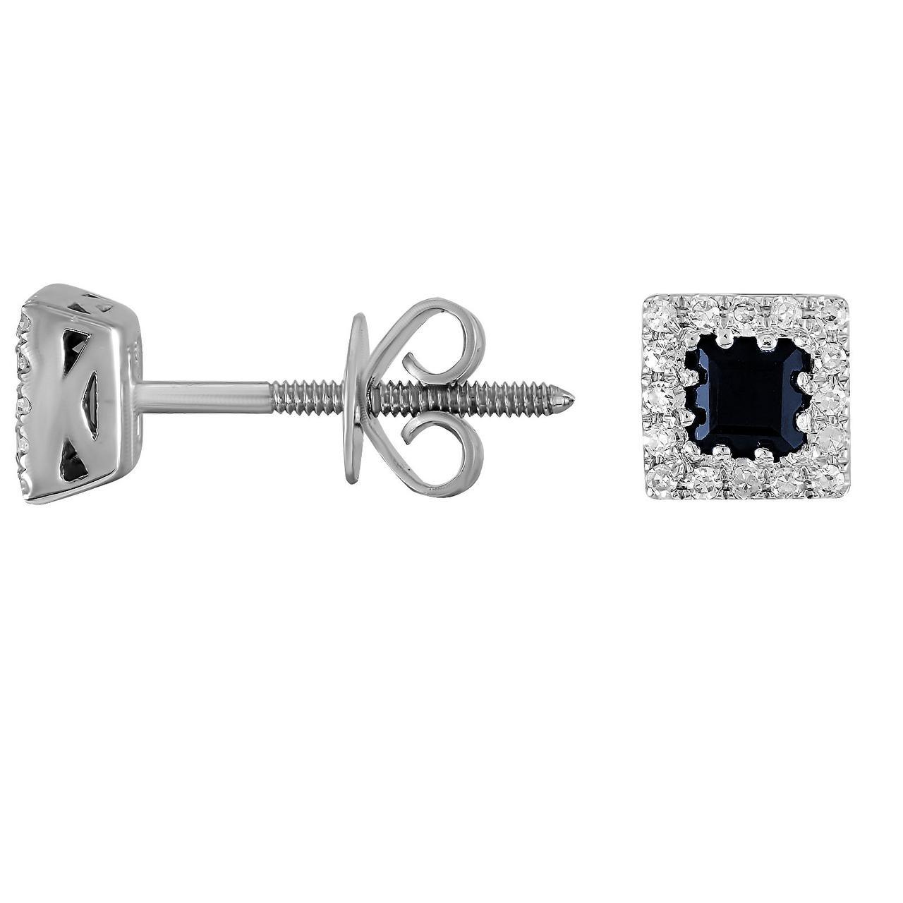 Серьги из белого золота с бриллиантами и сапфирами (221965)