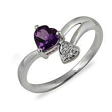 Золотое кольцо с аметистом и бриллиантами, размер 16 (012618)