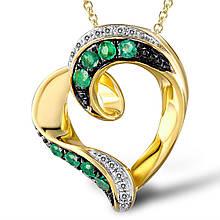 Кулон из желтого золота с бриллиантами и изумрудами (327249)