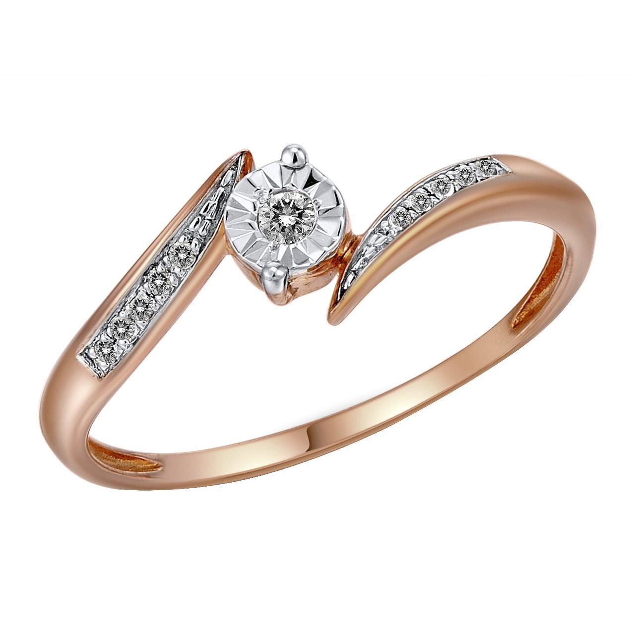 Золотое кольцо с бриллиантами, размер 16.5 (474840)