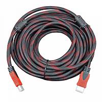 Кабель Kronos HDMI - HDMI 13.5 м v.1.4 усиленная обмотка с фильтрами Черный с красным  КОД: mt-30