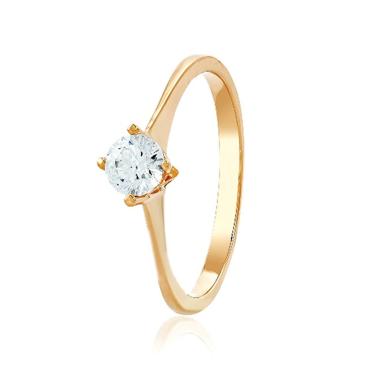 Золотое кольцо с Swarovski, размер 15 (312963)
