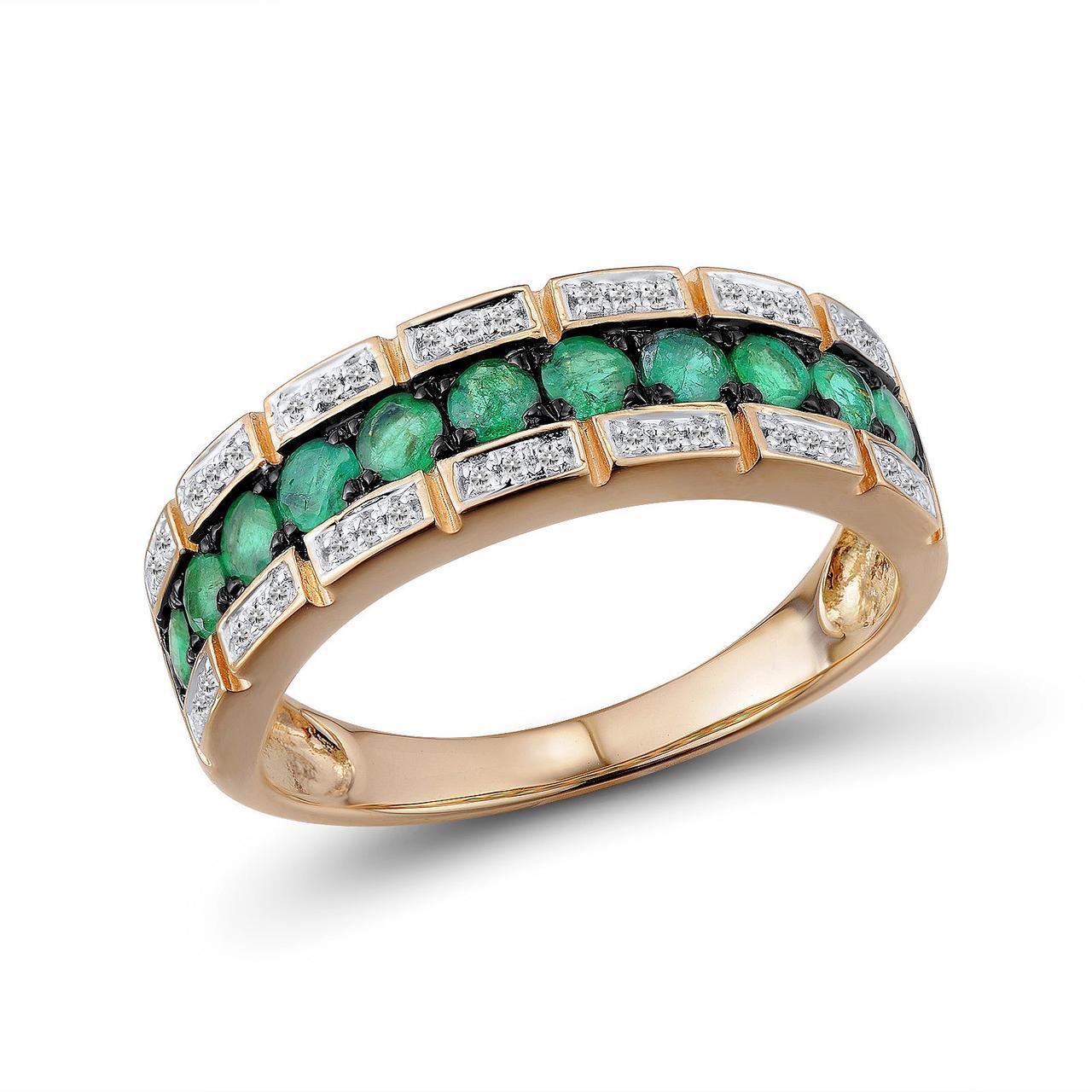 Золотое кольцо с бриллиантами и изумрудами, размер 17.5 (1618944)