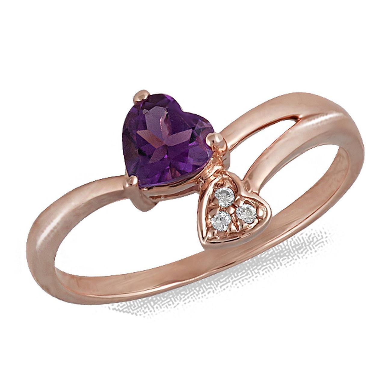 Золотое кольцо с аметистом и бриллиантами, размер 17 (027096)