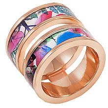 Женское кольцо с эмалью, размер 16.5 (799976)