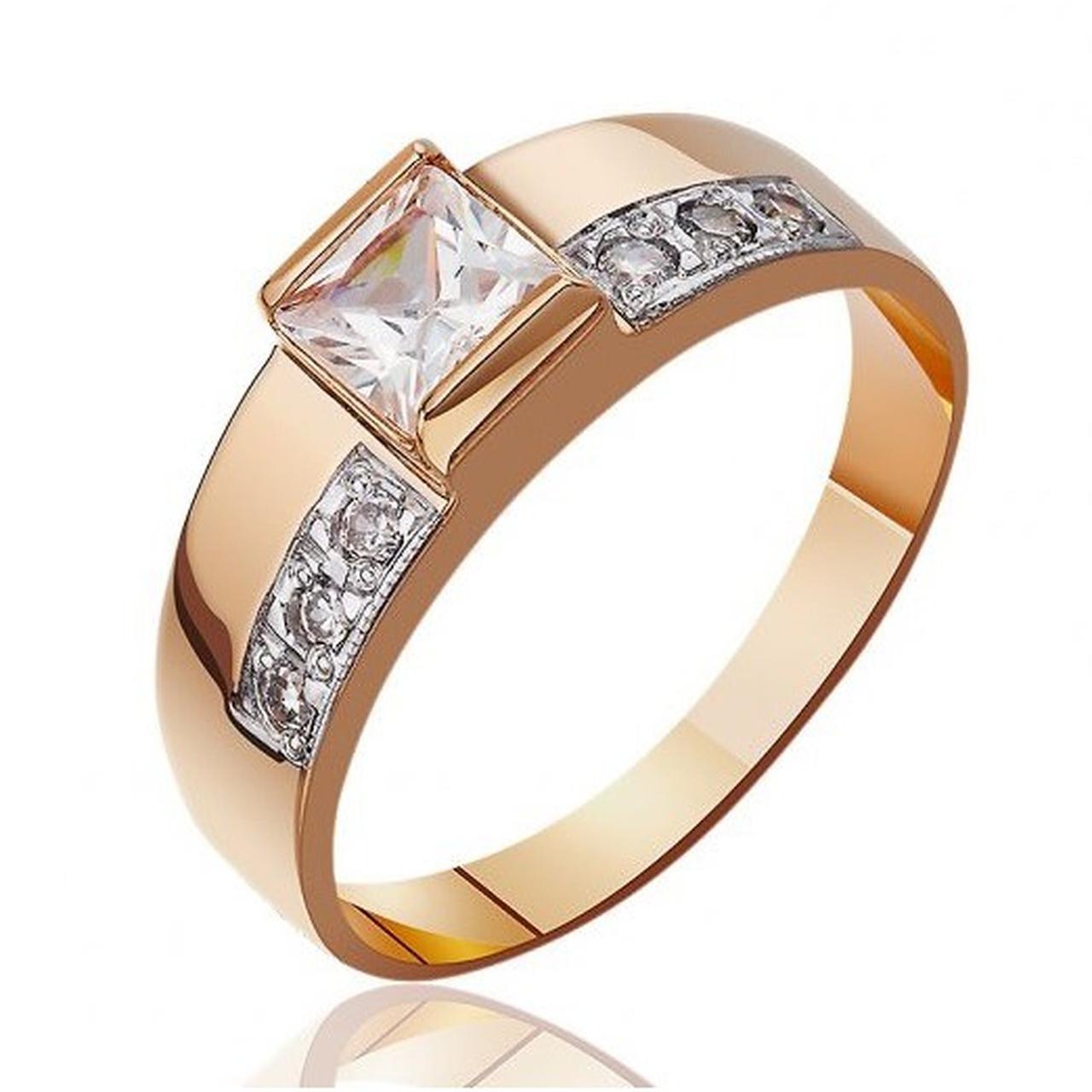 Золотое кольцо с куб. циркониями, размер 16 (1529609)