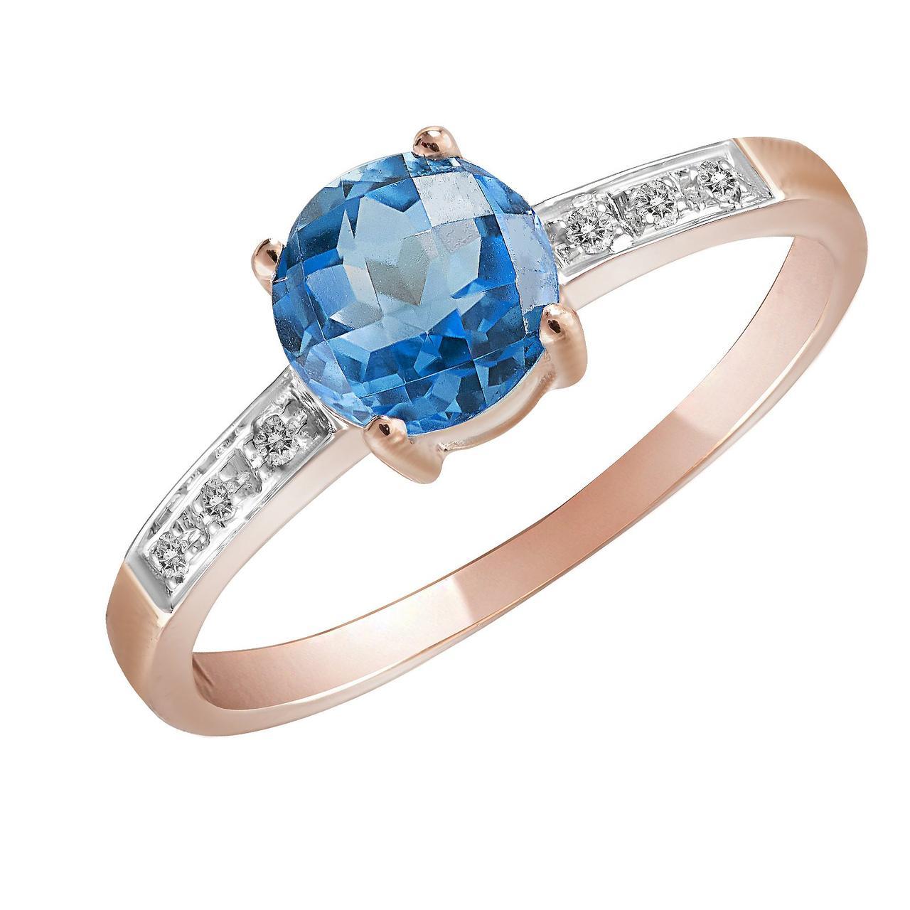 Золотое кольцо с бриллиантами и топазом, размер 16.5 (563134)