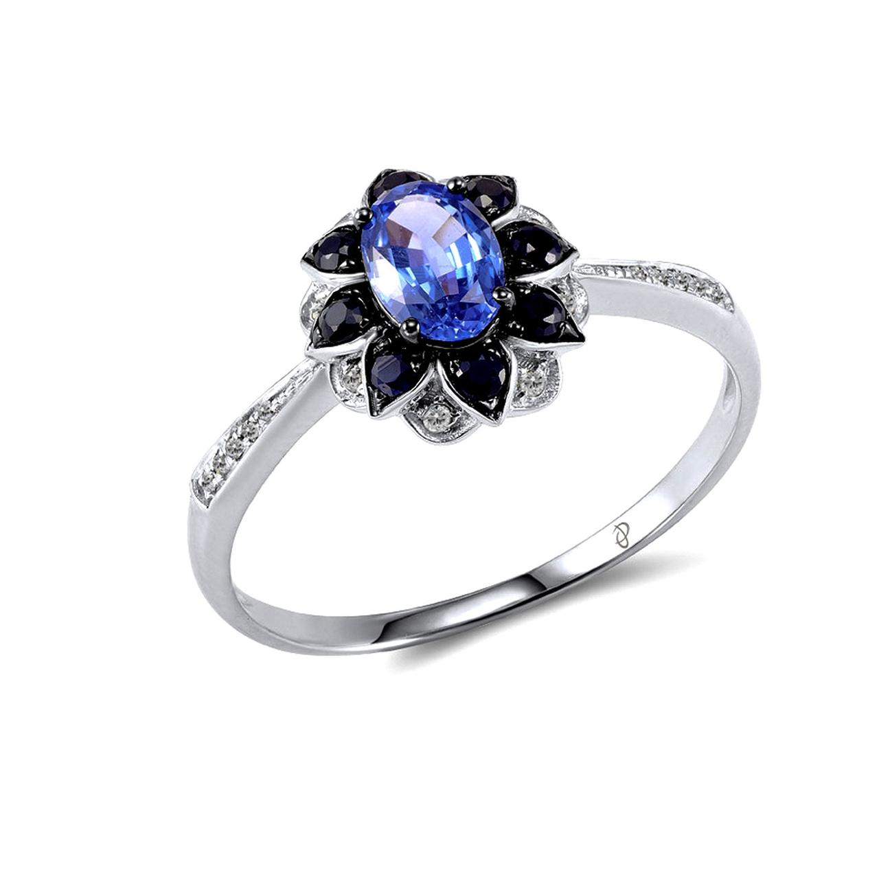 Золотое кольцо с бриллиантами и сапфирами, размер 16.5 (1552854)