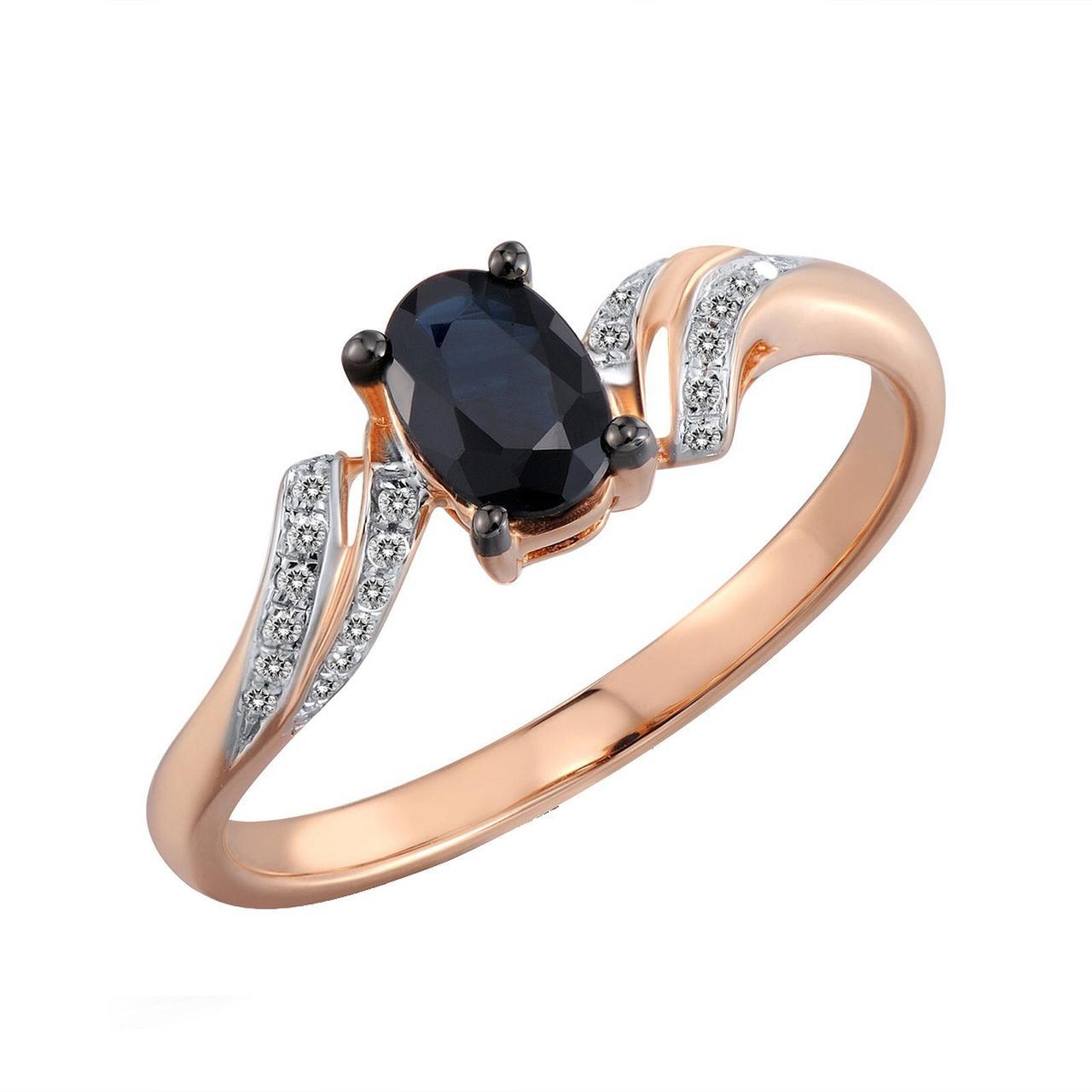Золотое кольцо с бриллиантами и сапфиром, размер 16 (533353)