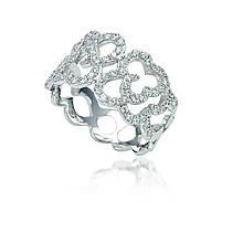 Серебряное кольцо с куб. циркониями, размер 17 (073297)