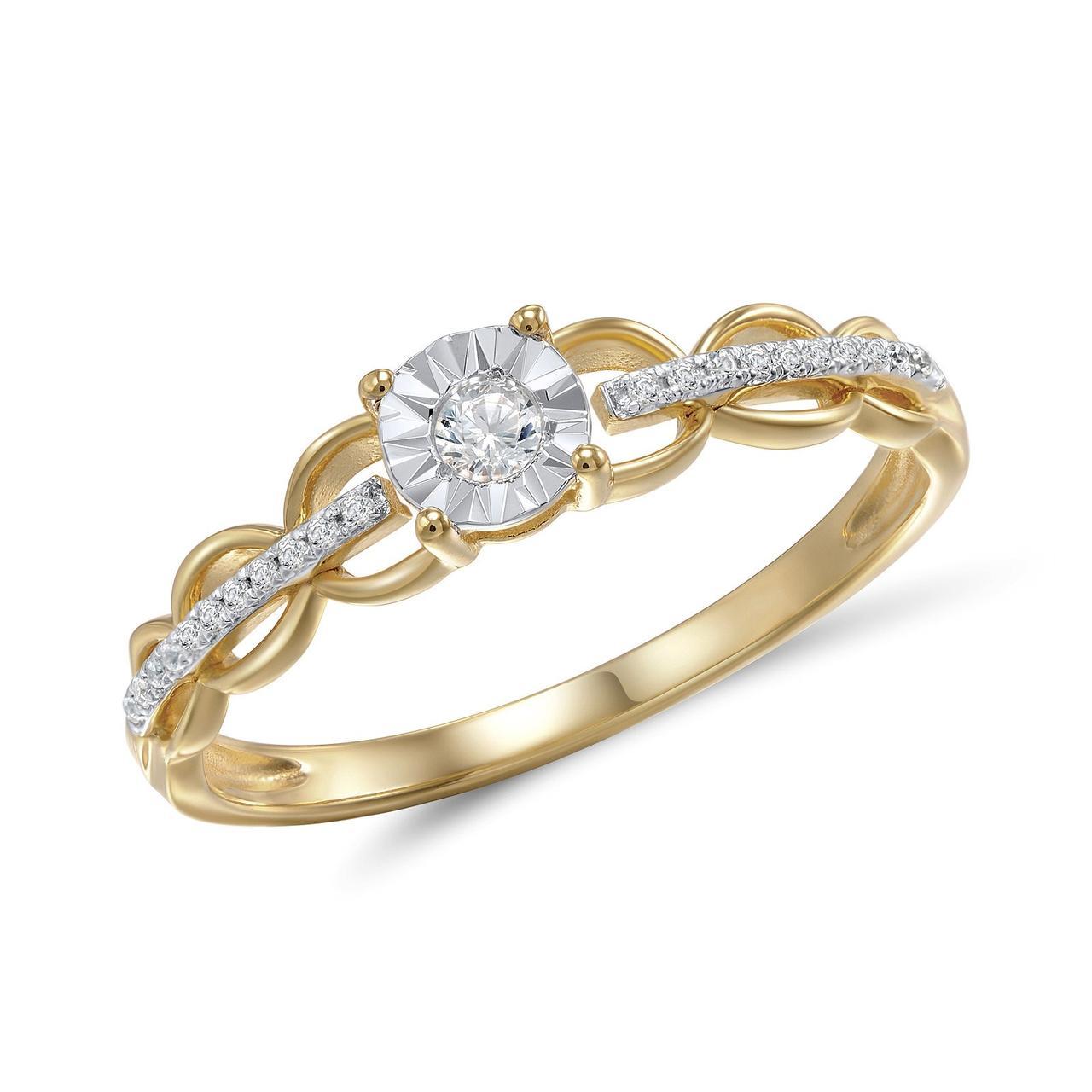 Золотое кольцо с бриллиантами, размер 15 (208926)