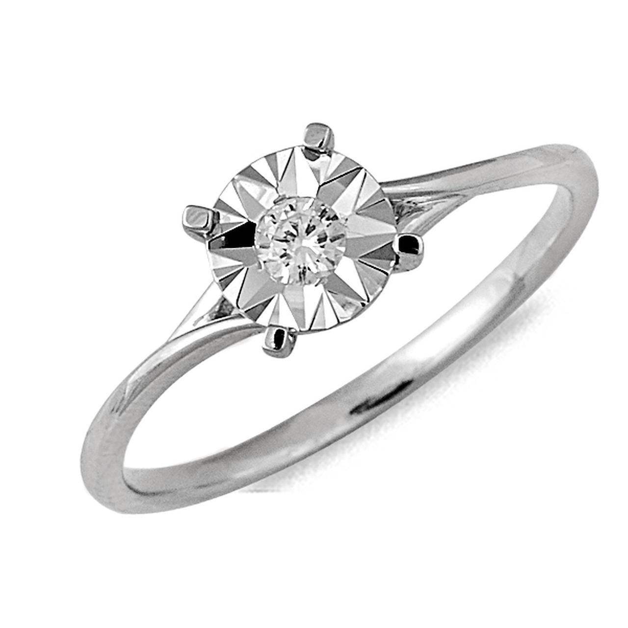 Золотое кольцо с бриллиантом, размер 16.5 (041439)