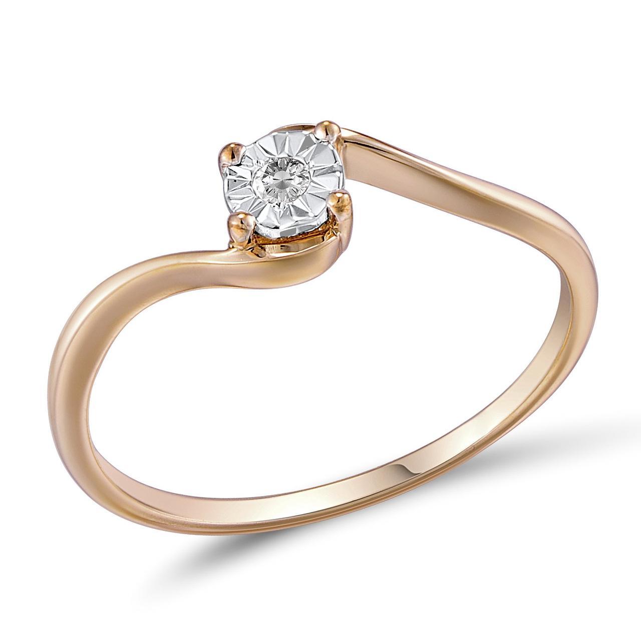 Золотое кольцо с бриллиантом, размер 16.5 (210719)