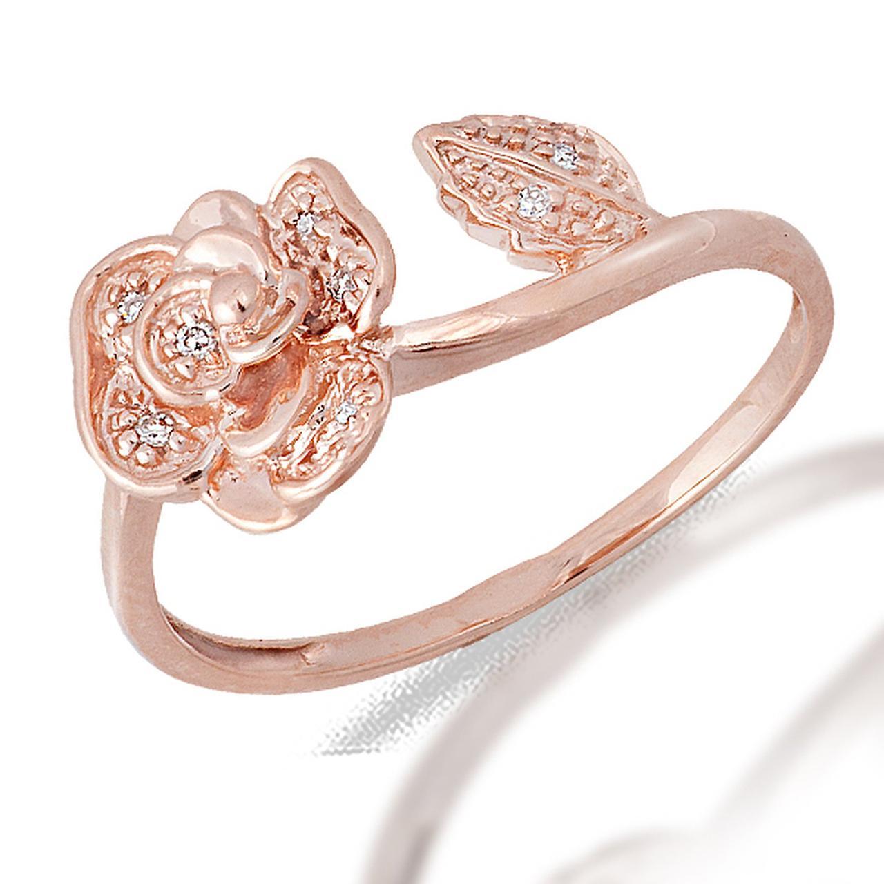 Золотое кольцо с бриллиантами, размер 15.5 (049644)