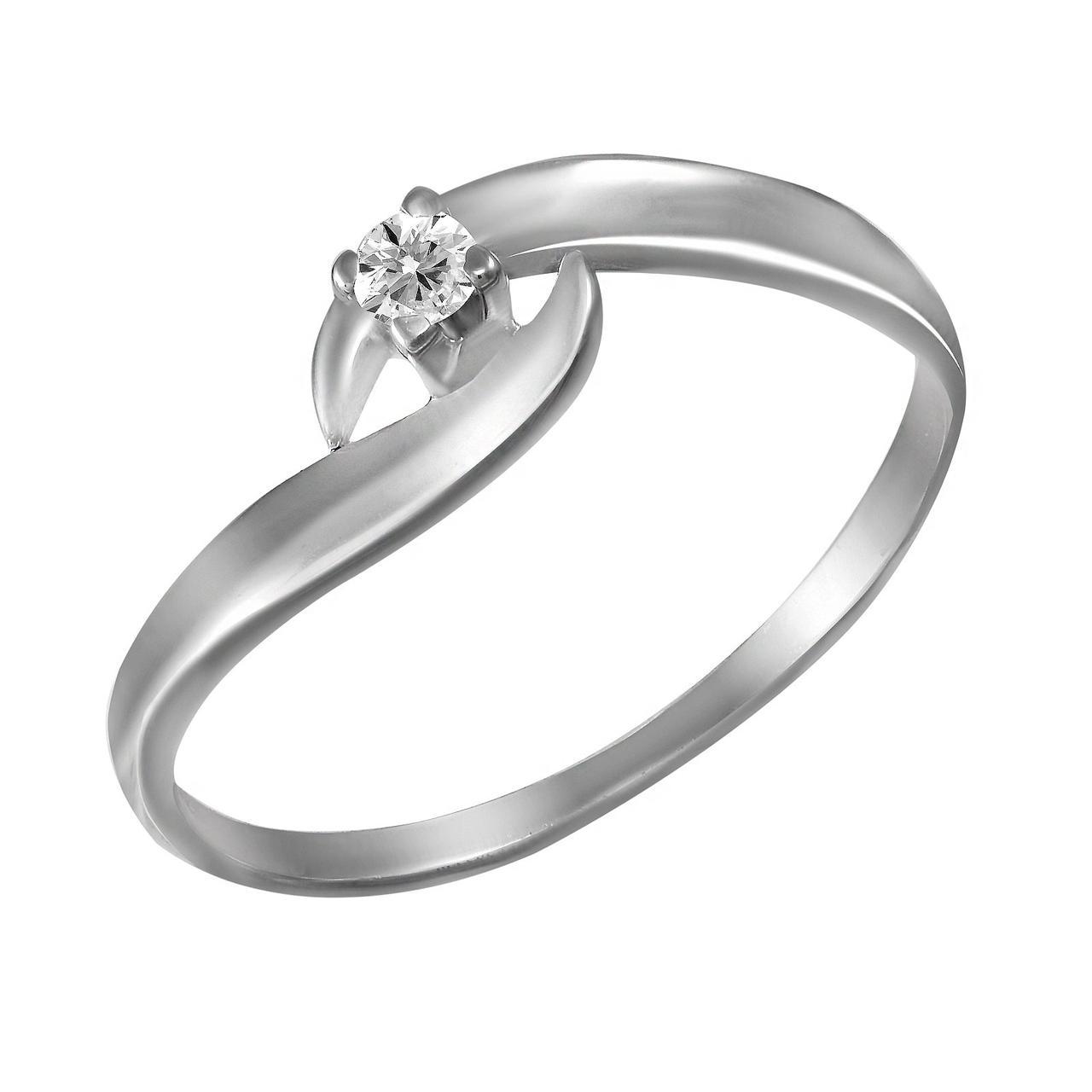 Золотое кольцо с бриллиантом, размер 16 (703215)