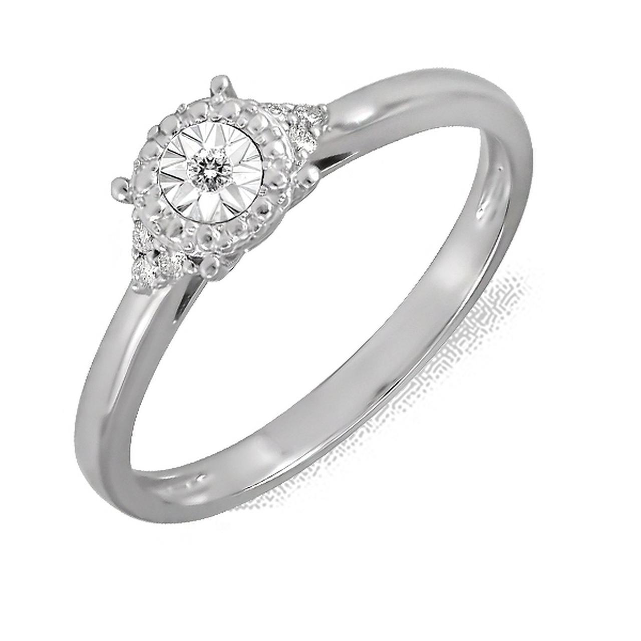 Золотое кольцо с бриллиантами, размер 15.5 (161829)