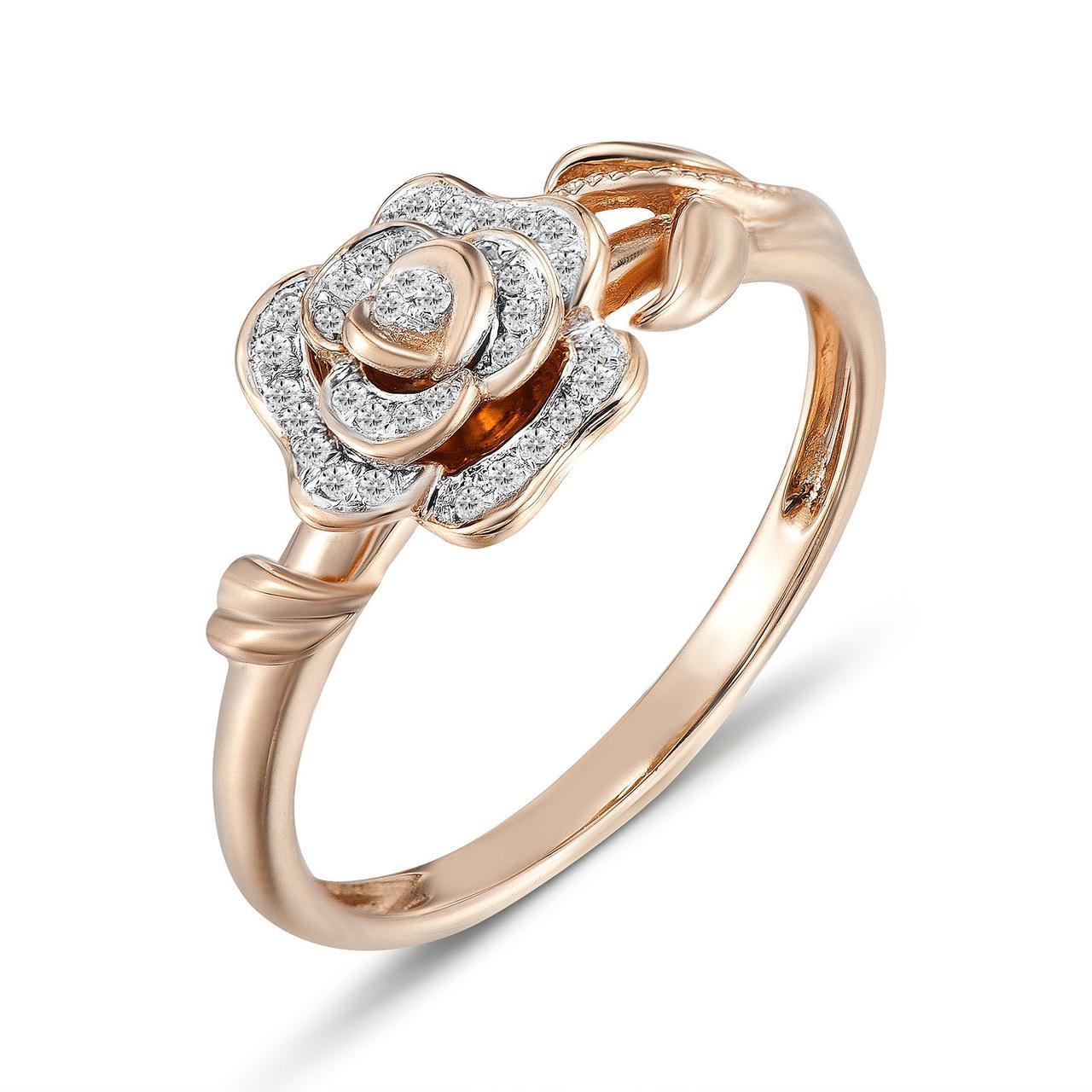 Кольцо из красного золота с бриллиантами, размер 15.5 (1550953) да, 2.4, 0.086, Бриллиант, 3, 4, 35, Золото 585°, 16, Гонконг, круг, белый, Красный