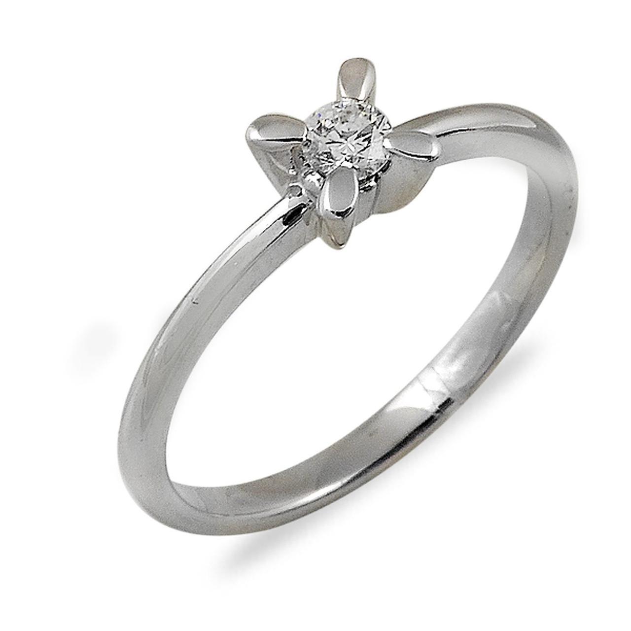 Золотое кольцо с бриллиантом, размер 17 (012639)