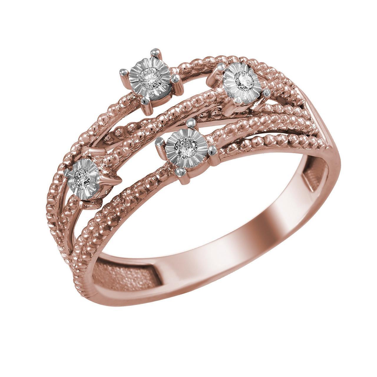Золотое кольцо с бриллиантами, размер 16.5 (1682189)