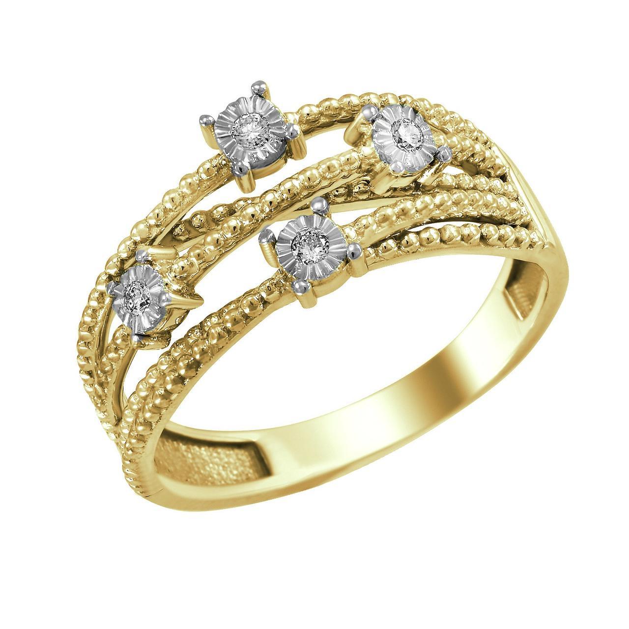 Золотое кольцо с бриллиантами, размер 19 (1680415)
