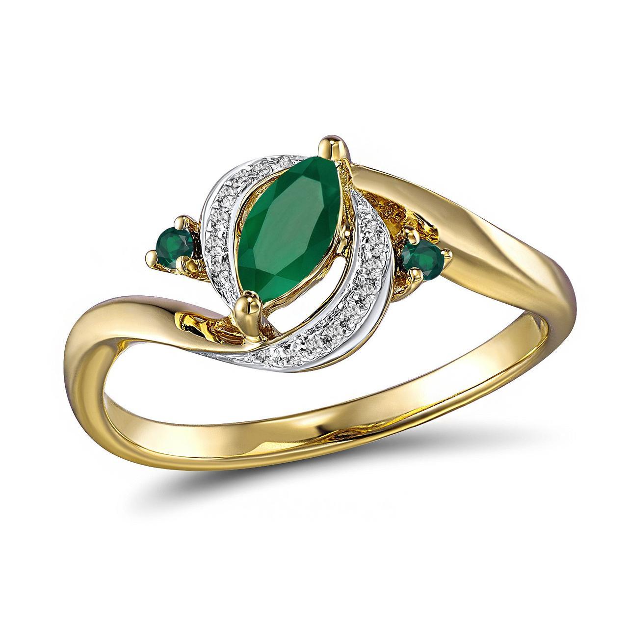 Золотое кольцо с бриллиантами и изумрудами, размер 16.5 (210390)