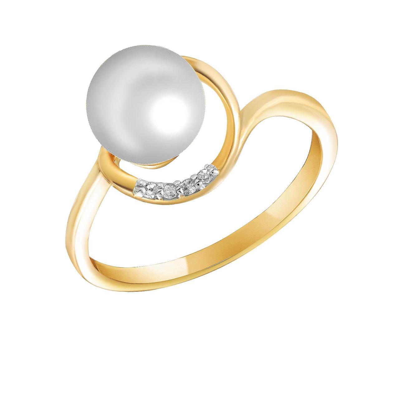 Золотое кольцо с бриллиантами и жемчугом, размер 16 (321720)