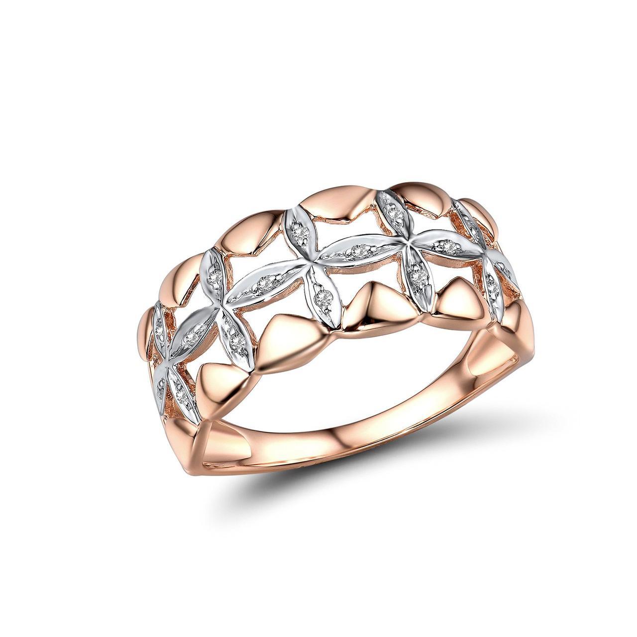 Золотое кольцо с бриллиантами, размер 17 (1719056)