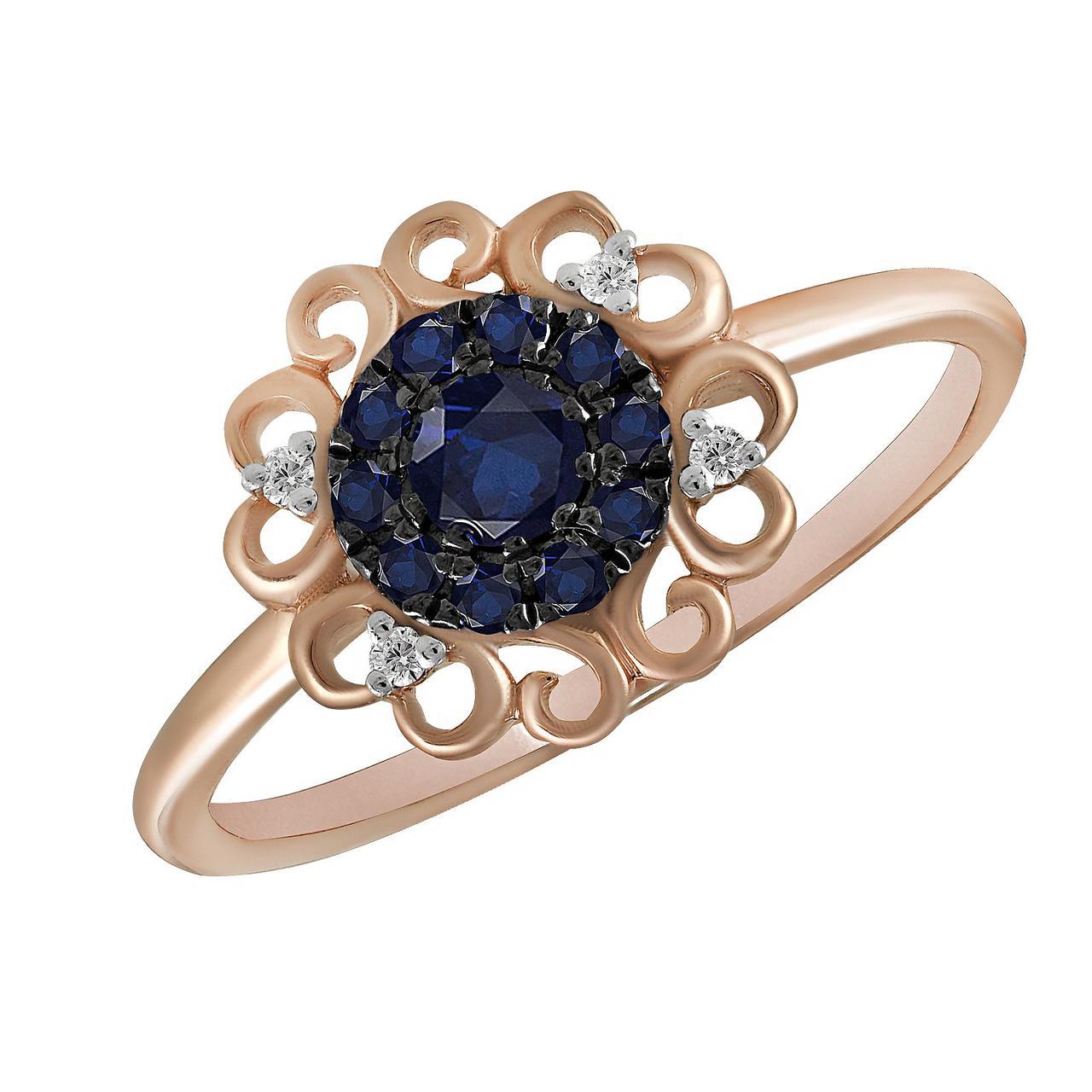 Золотое кольцо с бриллиантами и сапфирами, размер 16 (877002)