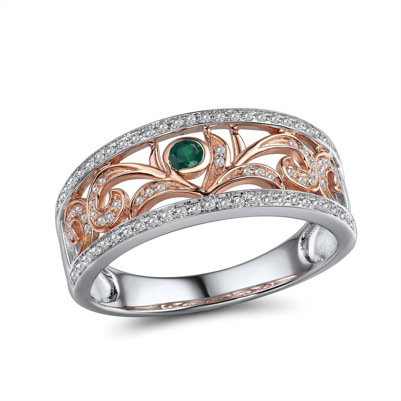 Золотое кольцо с бриллиантами и изумрудом, размер 17 (1719623)