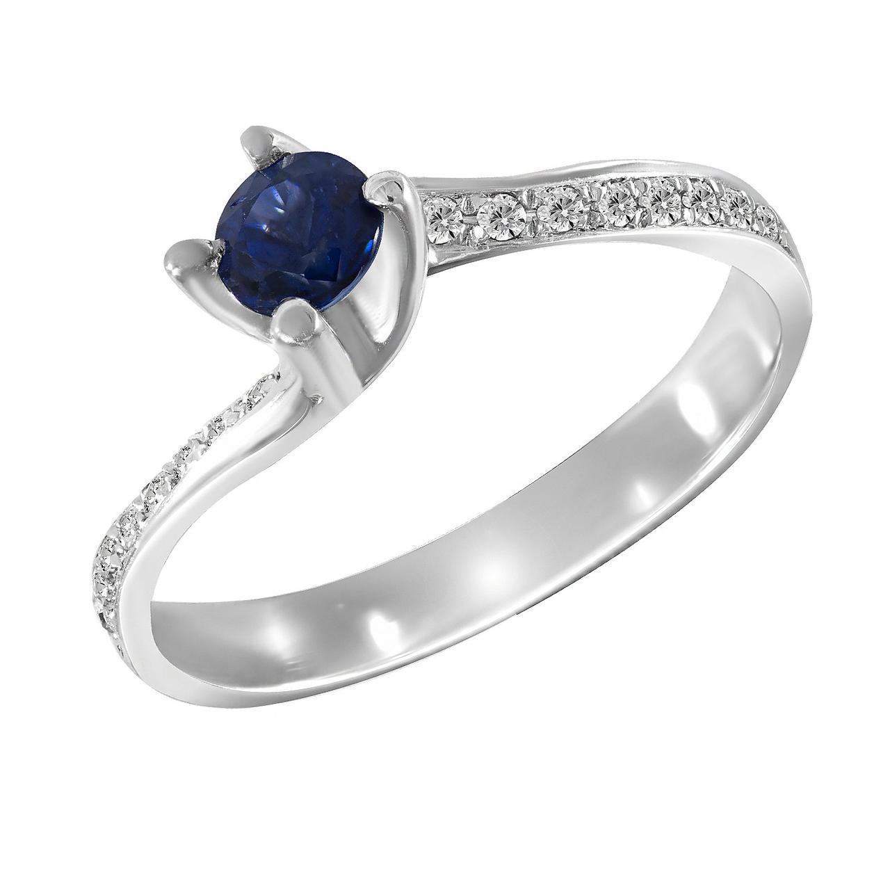 Золотое кольцо с бриллиантами и сапфиром, размер 17.5 (1681491)