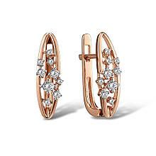 Сережки з червоного золота з діамантами (1718875)