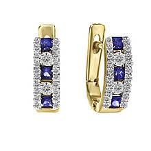 Сережки з жовтого золота з діамантами і сапфірами (1509412)