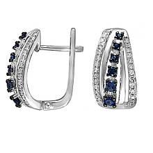 Сережки з білого золота з діамантами і сапфірами (205250)